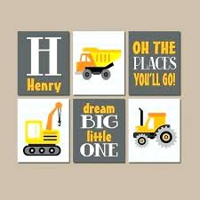 construction wall decals truck inspirational art trucks canvas or prints big yellow