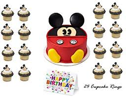 Amazoncom Mickey Mouse Clubhouse Face Cake Topper Set Cupcake 24