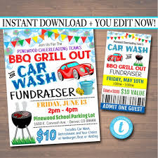 Bbq Fundraiser Flyer Editable Car Wash Fundraiser Flyer Ticket Set Pto Pta Church Etsy