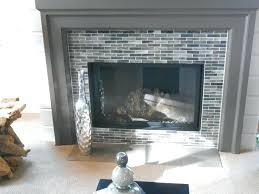 white tile fireplace with wood mantel modern dark grey light white black and pale green small