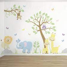 safari jungle wall art decal pastels