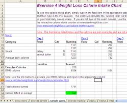 Calorie Intake Chart Weight Loss Tracker And Exercise Tracker
