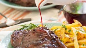red wine marinated steak with baked