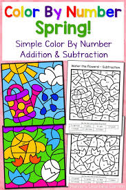 Spring Color By Number Worksheets with Simple Numbers plus ...