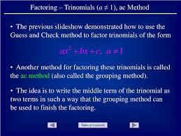 Ac Method Ppt Factoring Trinomials A 1 Ac Method Powerpoint