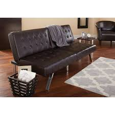 Black Leather Tufted Futon Beds Tar With Rug For Home