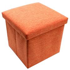 wallmark fabric ottoman storage box chairs (orange)  lazada ph