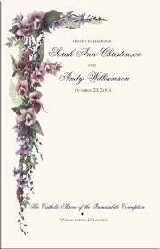 Wedding Ceremony Program Cover Orchid Wedding Program Examples Wedding Program Wording Wedding