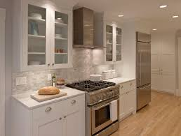 Kitchen:Gallery Kitchen With White Designs Include White Cabinets And  Sideboard With Shelves And A