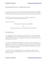 Why Should I Hire You Examples Best Resume
