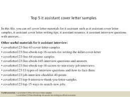 Top 5 It Assistant Cover Letter Samples