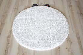 Badteppich Badematte Uni Weiß 60cm Rund Weich Ebay