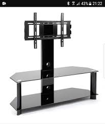 black glass tv stand with bracket mount