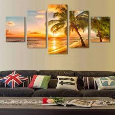 Modern Wall Paintings Living Room Online Get Cheap Sunset Beach Canvas Wall Art Aliexpresscom