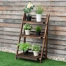 costway 3 tier outdoor wood design flower pot shelf stand folding display rack garden com