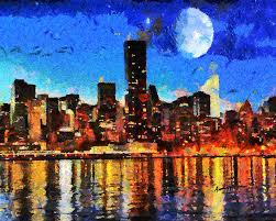 cityscape painting nyc skyline at night by anthony caruso
