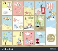 Travel Calendar Colorful Cute Monthly Calendar 2018 Busmapseacarballoontravel Stock