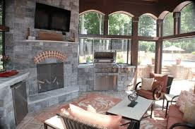 screened in porch with fireplace. Interior Of Screen Porch With Fireplace And Grill Screened In H