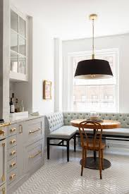 White Breakfast Nook Classic Grey And White Kitchen With Brass Hardware And Black