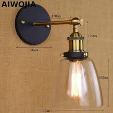 <b>Loft</b> Vintage Industrial Edison Wall lamps Clear Glass Wall Sconce ...