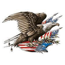 Patriotic Eagle and Flag Large Freedom Temporary Tattoo - GOimprints