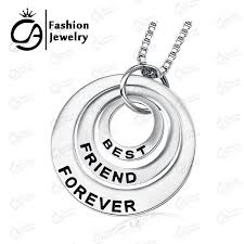 fashion best friends forever silver 3 part circle dice pendant necklace women girls gift chain jewelry
