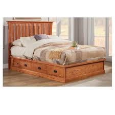 1024x1024 EK HB Mission Oak Pedestal Bed with Rake Headboard E King Size  image #A44B27