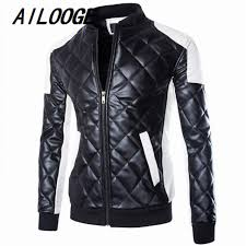 Mens Quilted Leather Jackets Coats White Black Contrast Shoulder ... & Mens Quilted Leather Jackets Coats White Black Contrast Shoulder Patch  Bomber Motorcycle Jackets Men Winter Big Adamdwight.com