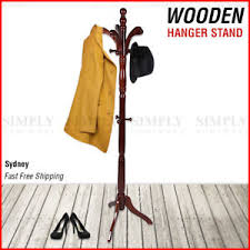 Coat Rack Sydney Wooden Coat Stand Rack Clothes Hanger Hat Tree Vintage Jacket Bag 50