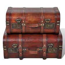 vidaXL 2x <b>Wooden Treasure Chest</b> Vintage Brown Storage Box ...