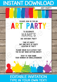 Birthday Party Invitation Art Party Invitations Paint Party Template