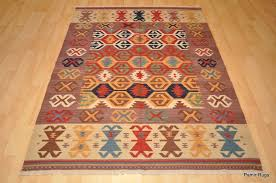 details about southwestern wool kilim area rug 5 x 7 handmade red and blue caucasian style