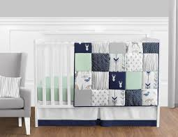perless navy blue grey forest deer arrow baby boy nursery crib bedding set 1 of 3free see more