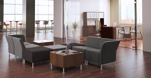 furniture modern reception chairs office black leather banner brampton set with anti microbial backrest seater sofa couch chrome legs cylinder shape square
