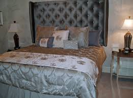 Marvelous Wall Tufted Bed Headboards Also Grey Silk Covers As Well As Cool  Cushions As Decorate Grey Master Bedroom Decors