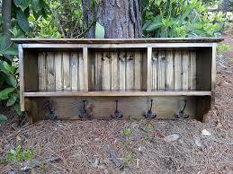 Rustic Wooden Coat Rack Rustic wood coat rack with storage cubby CoastalOakDesigns 86