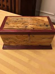 custom made figured ambrosia maple and purpleheart and jewelry box