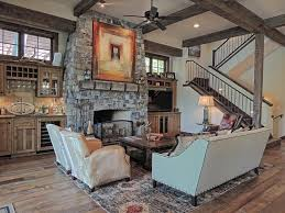 Wood Design Living Room Country Living Room With High Ceiling Columns In Whitefish Mt
