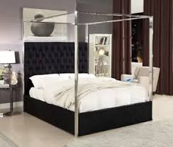 Details about Queen Size Black Velvet Upholster Chrome Finish Canopy Bed Bedroom Furniture