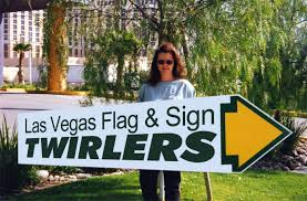 sign twirler sign twirlers human directionals las vegas flag and sign