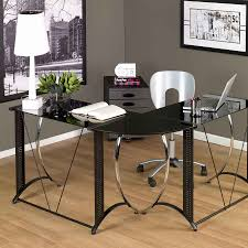 contemporary glass office. Home Decor Wonderful L Shaped Desk Ikea And Glass Special Contemporary Office