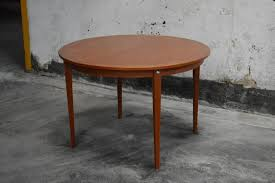 mid century modern round swedish teak dining table