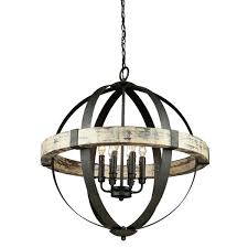 six light chandelier black wood orb by lighting connection 8 uk