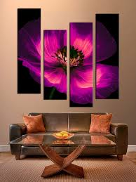 4 piece wall art flowers