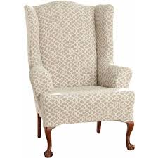 stretch ironworks wingback chair slipcover pctpolyester pct spandex material machine wingback corner
