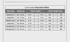 Cannondale Mountain Bike Frame Size Chart Cannondale Frame Sizing Lajulak Org