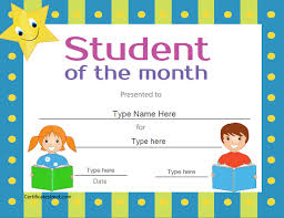 Star Of The Month Certificate Template Star Student For The Outstanding Student Who Has Worked Education