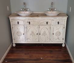 Painted shabby chic repurposed bathroom sink vanity. Repurposed from an old  antique buffet cabinet.