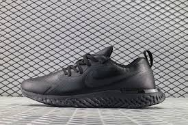 all black nike epic react flyknit premium leather running shoes to