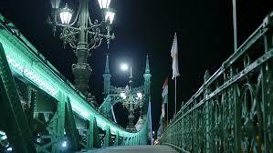 liberty bridge budapest by night 4k stock footage clip